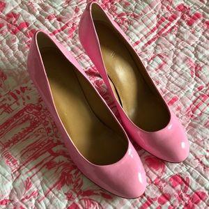 J crew bubblegum pink patent leather heels